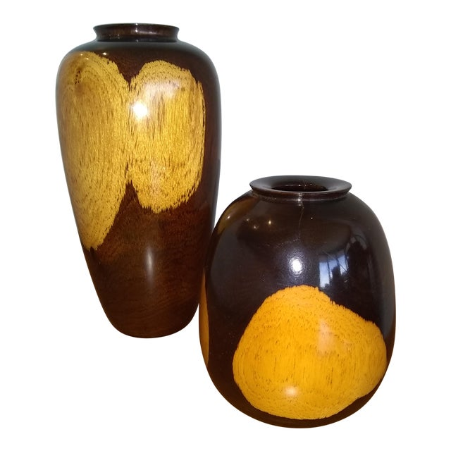 Black/Tan Turned Wood Vases - a Pair For Sale