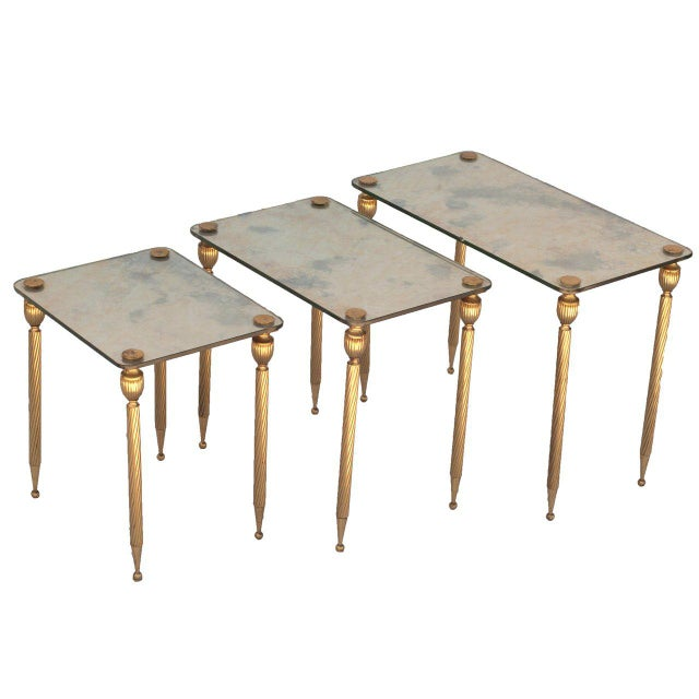 A Set of Three Brass Side Tables With Mirror Tops For Sale - Image 4 of 4