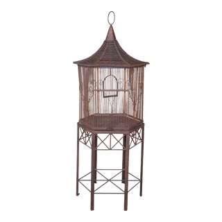 20th Century Iron Octogon Pagoda Birdcage House on Stand For Sale