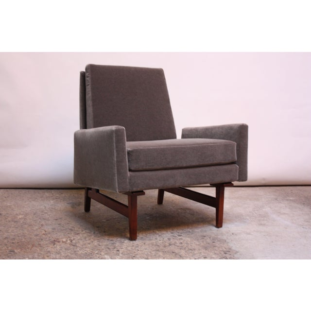 Early Jens Risom Walnut and Mohair Lounge Chair - Image 6 of 11