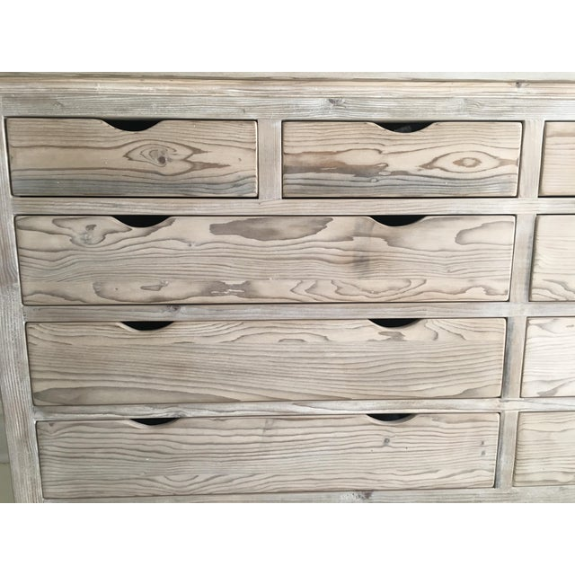 Custom White Washed Pine 10-Drawer Dresser - Image 5 of 11