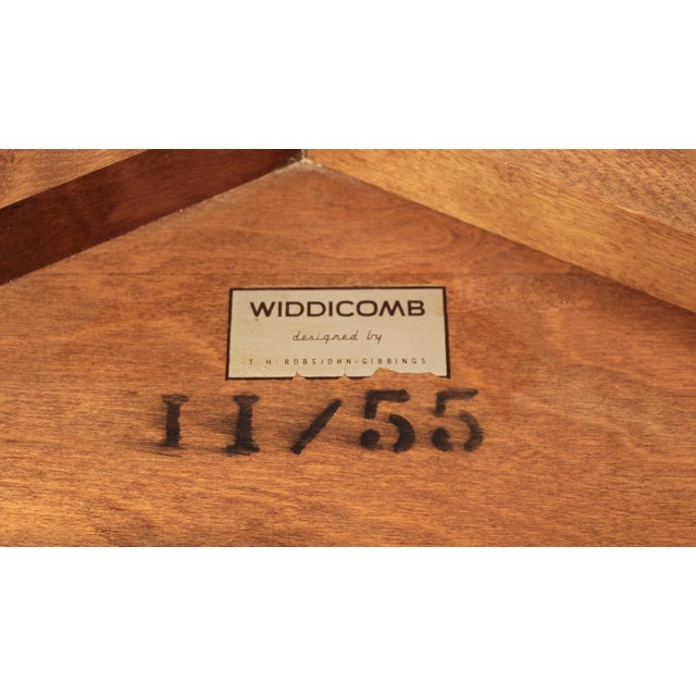 T.H. Robsjohn Gibbings t.h. Robsjohn Gibbings Bleached Mahogany Sabre Leg Side Tables for Widdicomb - A Pair For Sale - Image 4 of 9