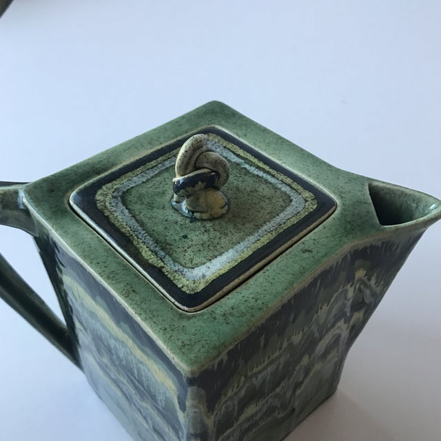 California Green Ceramic Drip Glaze Pitcher For Sale - Image 5 of 11
