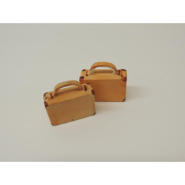 1980s Pair of Orange and Brown Bisque Porcelain Trendy Handbags Salt & Pepper Shakers For Sale - Image 5 of 6