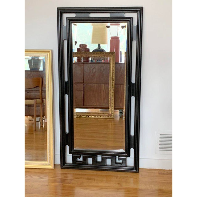 FInal Markdown Large James Mont Style Large Carved Greek Key Wood Mirror For Sale - Image 10 of 10