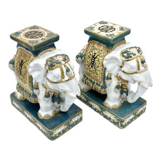 Vintage Asian Elephant Statues- Set of 2 For Sale