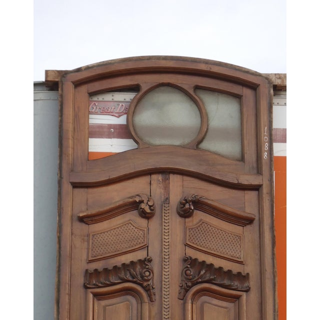 Antique Parquetry Doors with Transom Window For Sale - Image 4 of 12