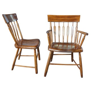 19th Century Antique Windsor Style Spindle Back Oak Dining Side Arm Chairs- Set of 4 Preview