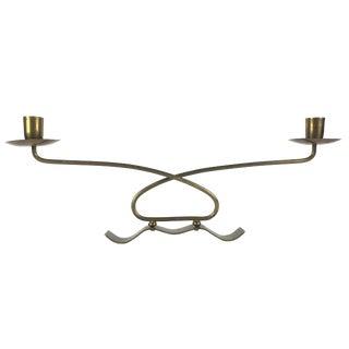 Mid Century Modern Italian Brass Candelabra For Sale