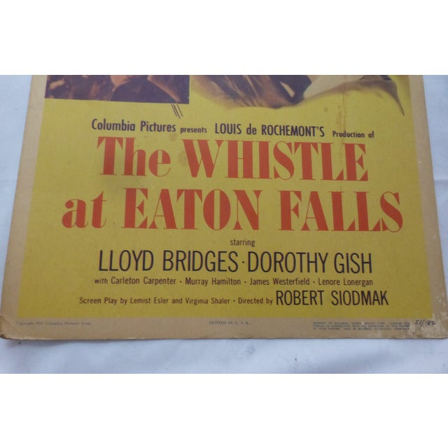 1951 'Whistle at Eaton Falls' Lobby Card For Sale In Boston - Image 6 of 11