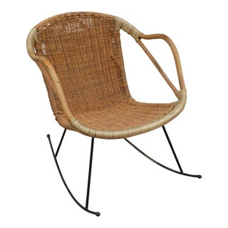 Vintage Mid Century Bamboo and Rattan Rocking Arm Chair For Sale