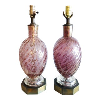 AVeM Murano Mid Century Lamps - a Pair For Sale