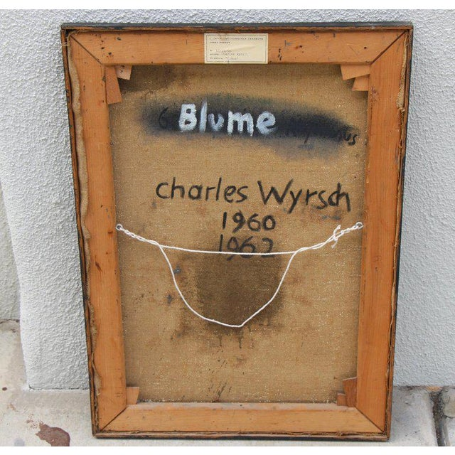 """""""Blume"""" Oil Exhibited Painting by Swiss Artist Charles Wyrsch For Sale In Palm Springs - Image 6 of 8"""