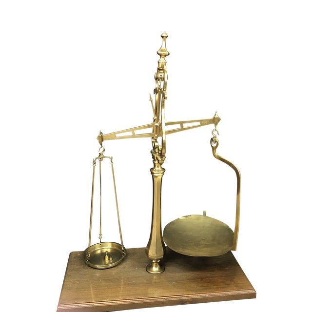 Large Vintage Brass Scale With Weights For Sale
