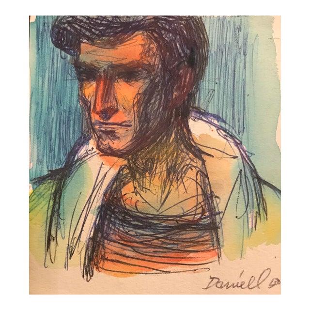Portrait of a Man Watercolor For Sale