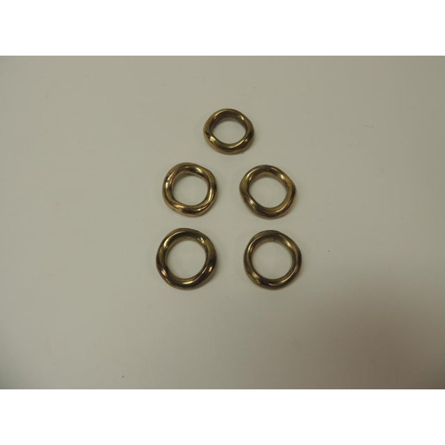 Set of 5 Solid Brass Ralph Lauren Ribbon Napkin Holders For Sale In Miami - Image 6 of 6