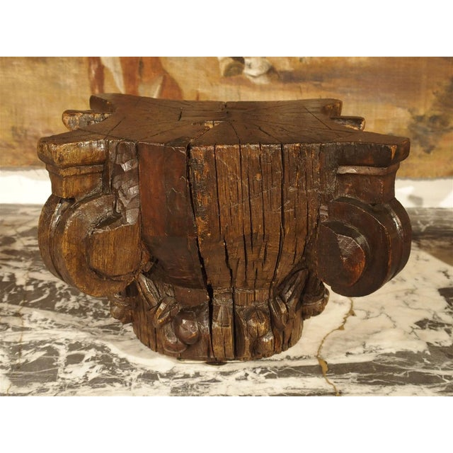 Brown Small 18th Century French Oak Column Capital For Sale - Image 8 of 8