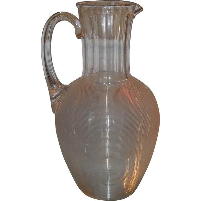 Antique Lutz for Mt. Washington American Art Glass Pitcher or Jug For Sale