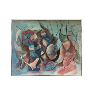 Danish Modern Original Signed Oil Painting by Schneider For Sale