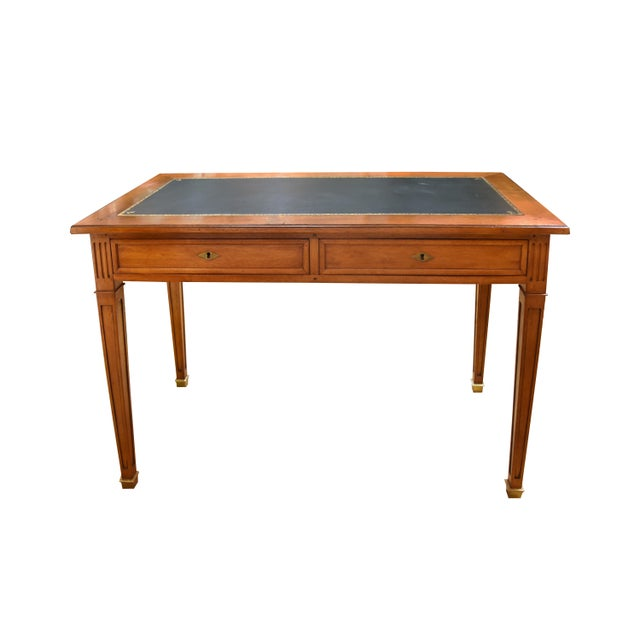 Louis XVI Style Green Leather Top Writing Desk For Sale - Image 13 of 13