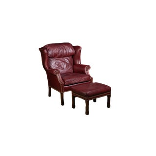 1970s Wingback Leather Armchair and Ottoman For Sale