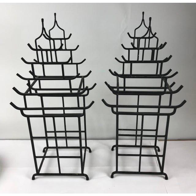 Vintage Pagoda Chinoiserie Wine Holders - a Pair For Sale In Chicago - Image 6 of 6