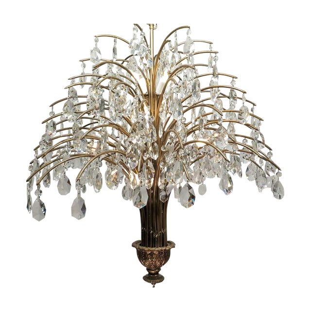 Vintage Mid Century Palm Spray Crystal Chandelier - Image 1 of 8