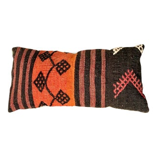 Vintage Turkish Kilim Black & Orange Pillow For Sale