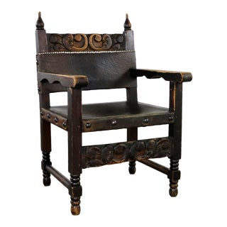 Spanish Hacienda Style Arm Chair Hand Carved Leather Artes De Mexico Internacionales For Sale