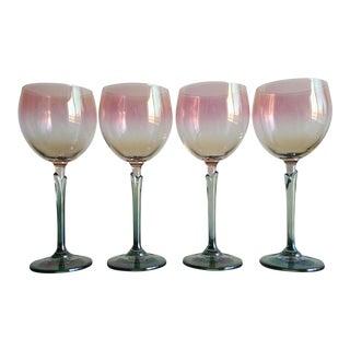 Gradient Crystal Stemmed Wine Glasses - Set of 4 For Sale