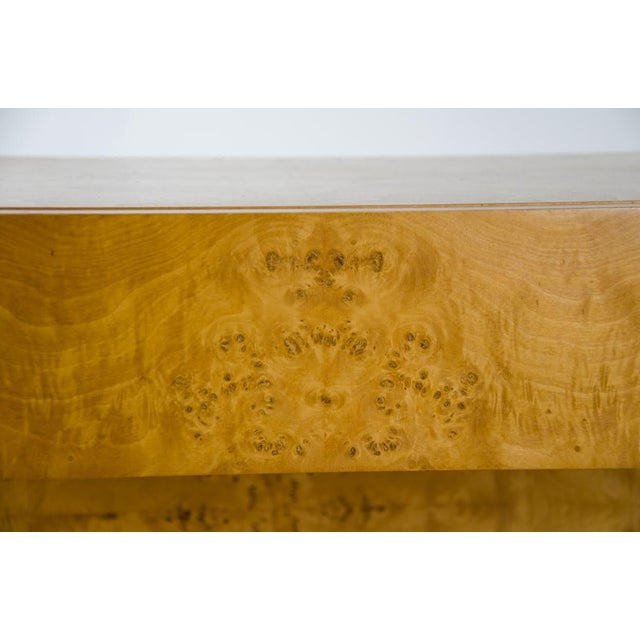Brown 1990s Modern Burl Walnut Nightstand Side Table For Sale - Image 8 of 13