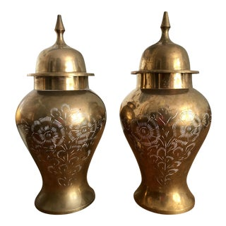 Floral Engraved Brass Temple Jars - a Pair For Sale