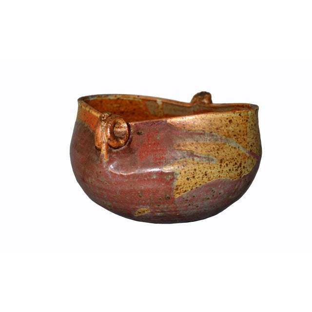 Houston 75 Mid-Century Modern Brown & Red Pottery Earthenware Round Bowl Vessel For Sale - Image 4 of 13