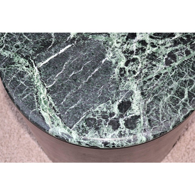 Mid Century Modern Paul Mayen Style Green Marble Top Drum Side Tables - a Pair For Sale - Image 11 of 13