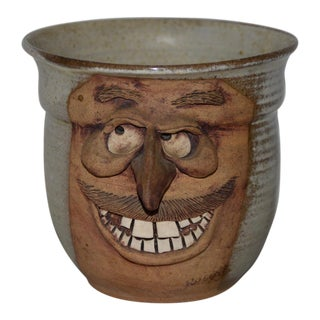 Hand Made Ceramic Caricature Flower Pot by Rogers For Sale