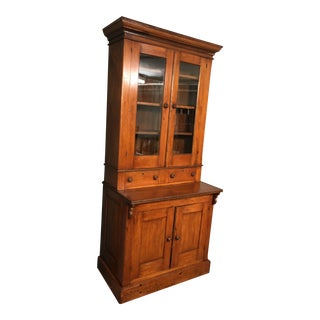19th Century Honey Pine China Cupboard For Sale