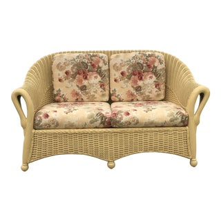 Victorian Swan Arm Bamboo and Wicker Settee For Sale