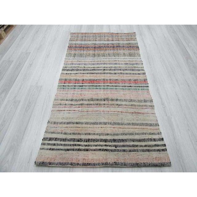 Islamic Vintage Striped Turkish Rag Rug For Sale - Image 3 of 6