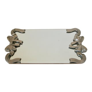 Silver Ribbon Mirrored Tray For Sale