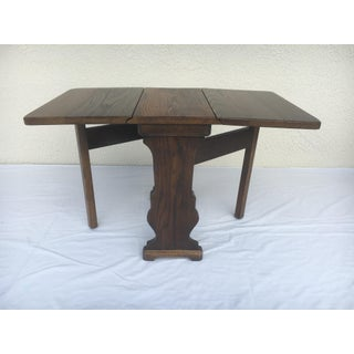 Small Petite Mini Vintage Mid-Century Wood Drop Leaf Side Table Preview