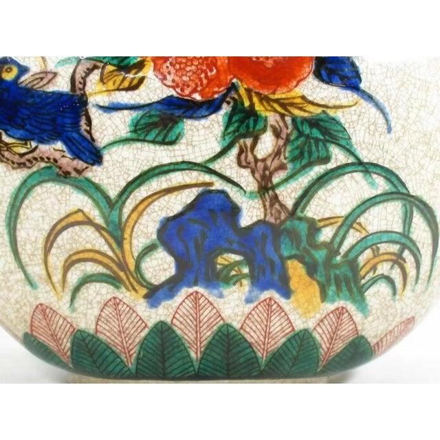 Ceramic Antique Kutani Floral Vase For Sale - Image 7 of 11