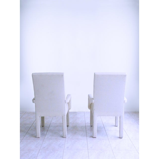 Parsons Armchairs Post Modern Art Deco Inspired Upholstered Chairs - A Pair For Sale - Image 4 of 7