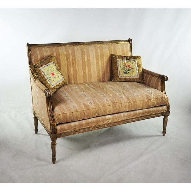 Louis XVI Late 19th C. Louis XVI Style Distressed Settee For Sale - Image 3 of 11
