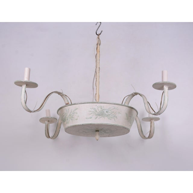 4 Arms French Ceiling Chandelier, Off White With Hand Painted Soft Green Floral/Leave Design For Sale In New York - Image 6 of 6