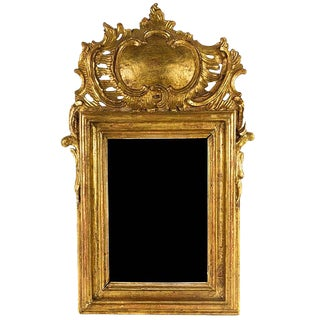 Louis XV Style Giltwood Mirror With a Foliate Scroll Crest, 20th Century For Sale