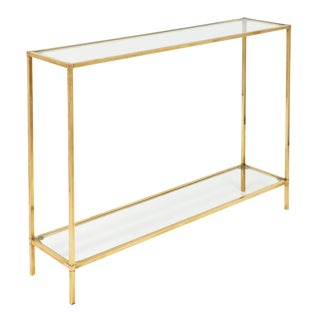 Art Deco Period Brass Console Table For Sale