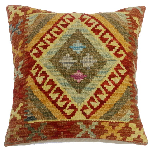 "Cherise Rust/Gold Hand-Woven Kilim Throw Pillow(18""x18"") For Sale"