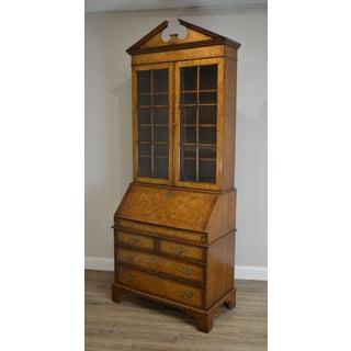 George III Style Custom Quality Burlwood Drop Front Secretary Desk W/ Bookcase Preview