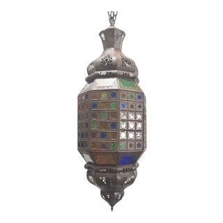 Moroccan Handcrafted Light Fixture With Multi-Color Moorish Glass For Sale