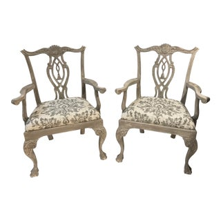 Chippendale Style Gray/White Tones Arm Dining Chairs - a Pair